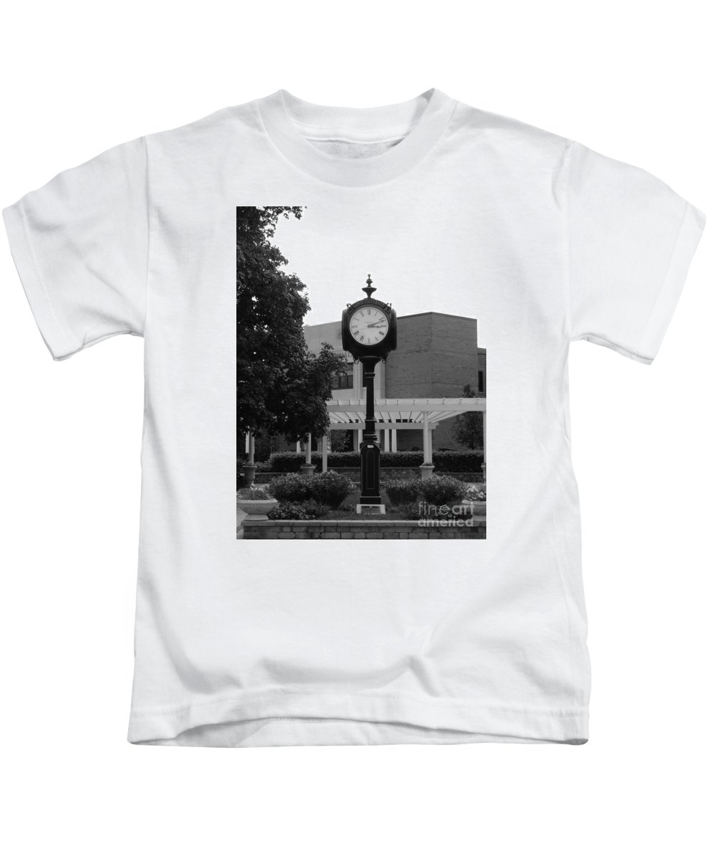 Clock Kids T-Shirt featuring the photograph Lewis University Clock In Black And White by Teresa Hayes