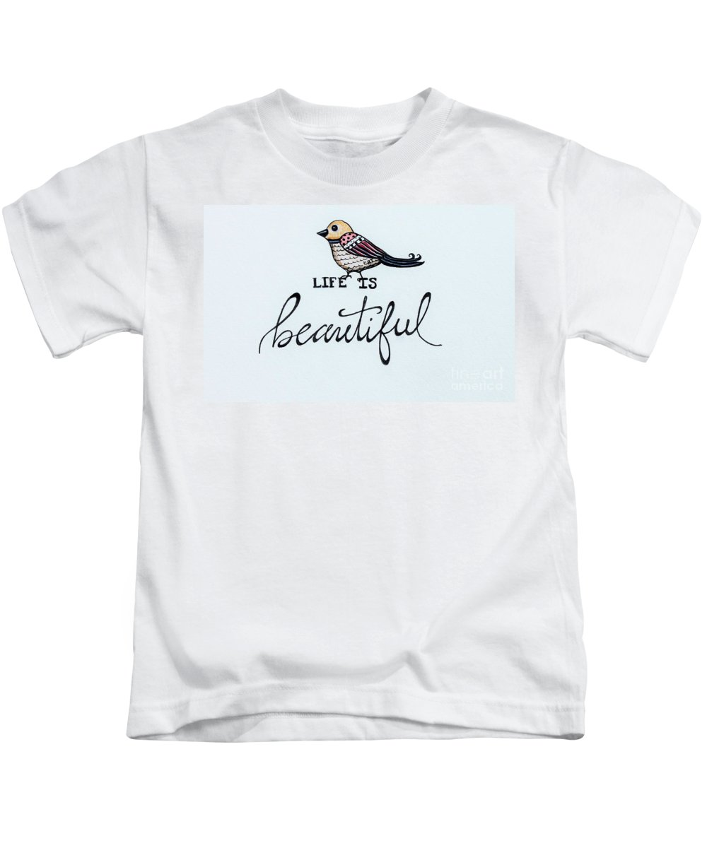 Bird Kids T-Shirt featuring the painting Life Is Beautiful by Elizabeth Robinette Tyndall