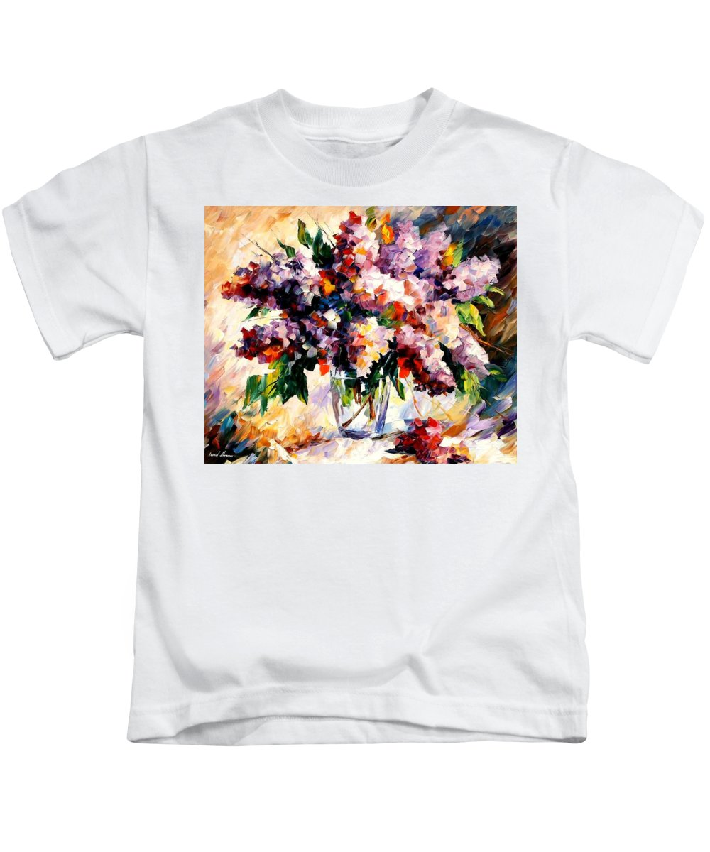 Afremov Kids T-Shirt featuring the painting Lilac - Morning Mood by Leonid Afremov