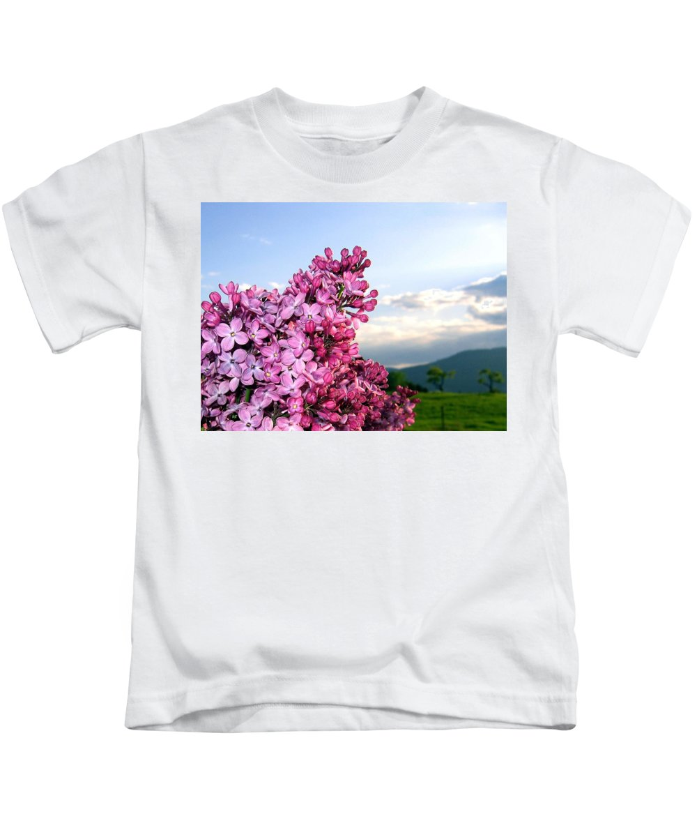 Lilacs Kids T-Shirt featuring the photograph Lilacs And Green Pastures by Will Borden
