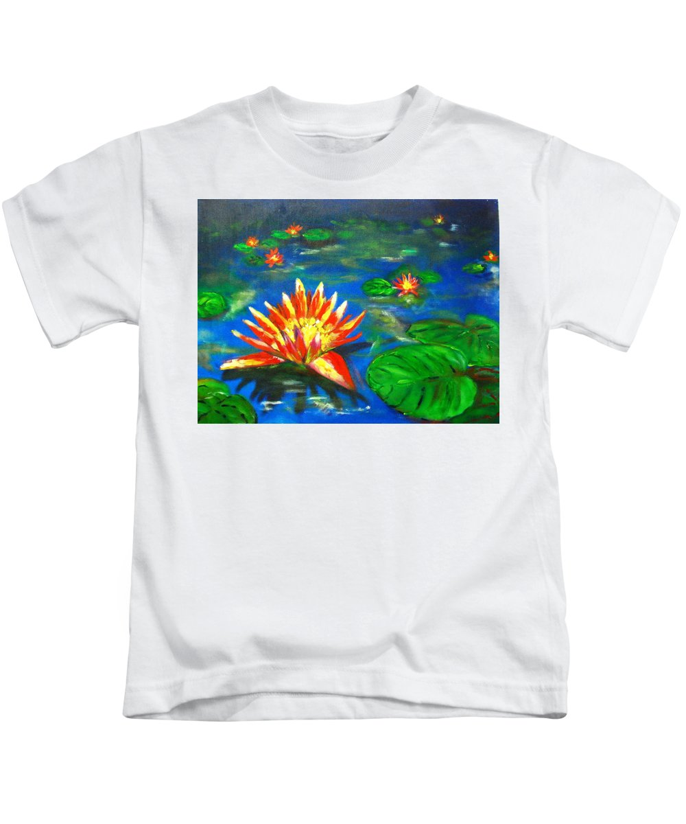 Lilies Kids T-Shirt featuring the Lilies By The Pond by Matthew Doronila