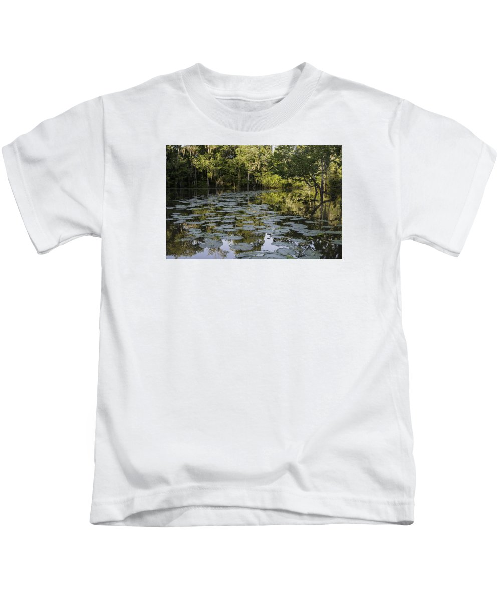 Louisiana Wetlands Kids T-Shirt featuring the photograph Lily Bend On Blind River by Richard Waller