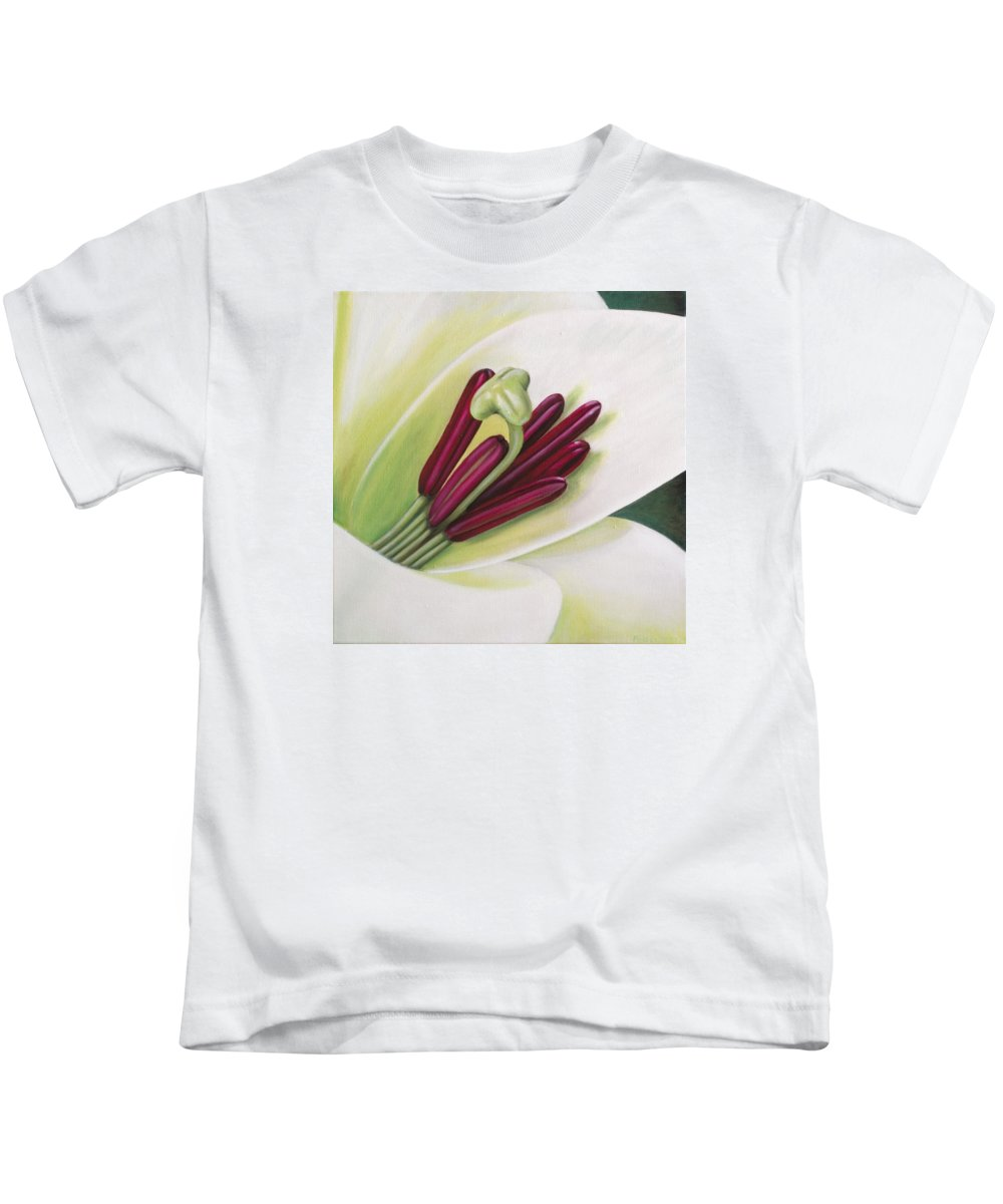 Flower Kids T-Shirt featuring the painting Lily by Rob De Vries