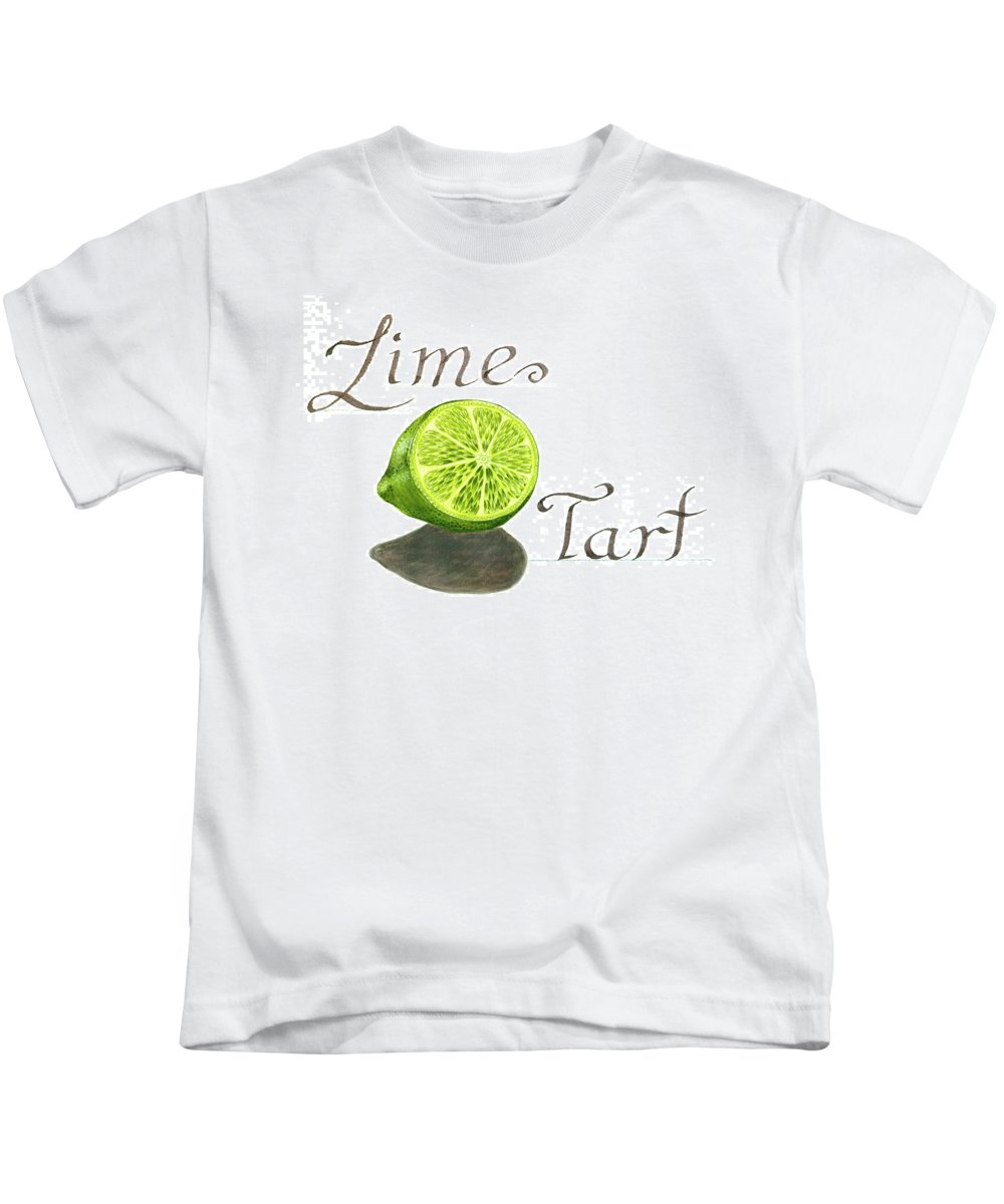 Watercolor Painting Kids T-Shirt featuring the painting Lime Tart by Erin Sparler