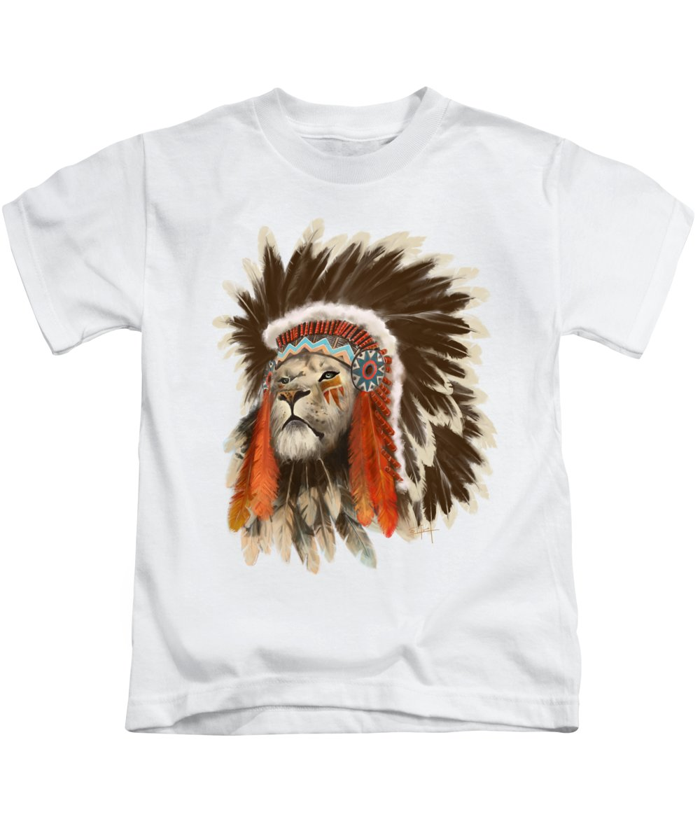 36b63c7d5 Lion Kids T-Shirt featuring the painting Lion Chief by Sassan Filsoof