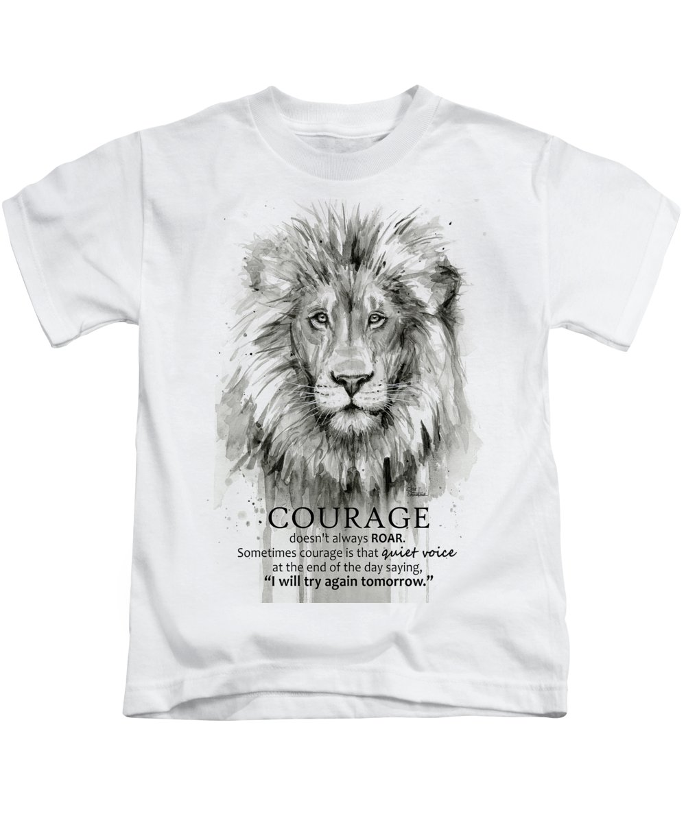 Image of: Senior Lion Courage Motivational Quote Watercolor Animal Kids Tshirt For Sale By Olga Shvartsur Pixels Lion Courage Motivational Quote Watercolor Animal Kids Tshirt For