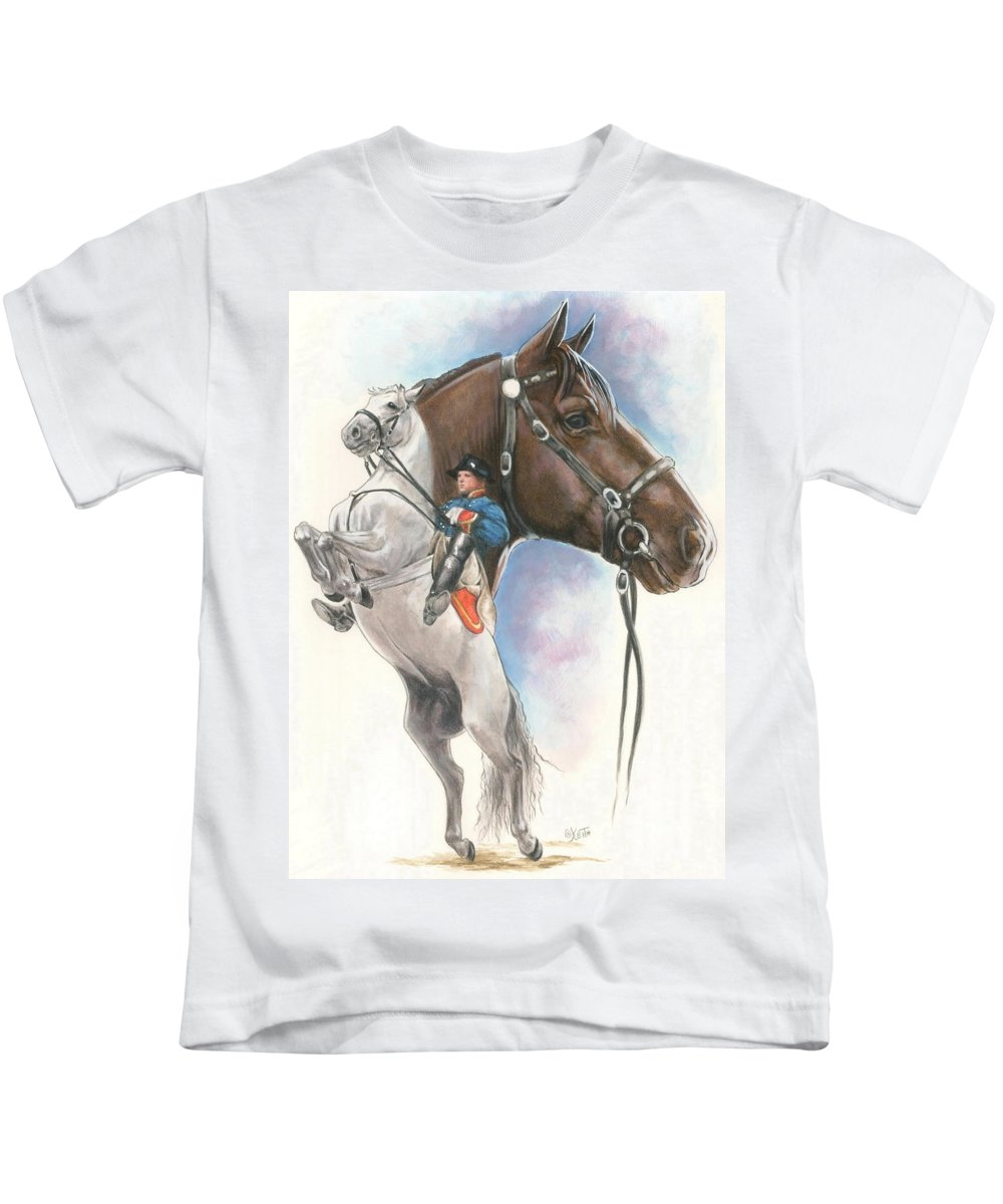 Spanish Riding School Kids T-Shirt featuring the mixed media Lippizaner by Barbara Keith
