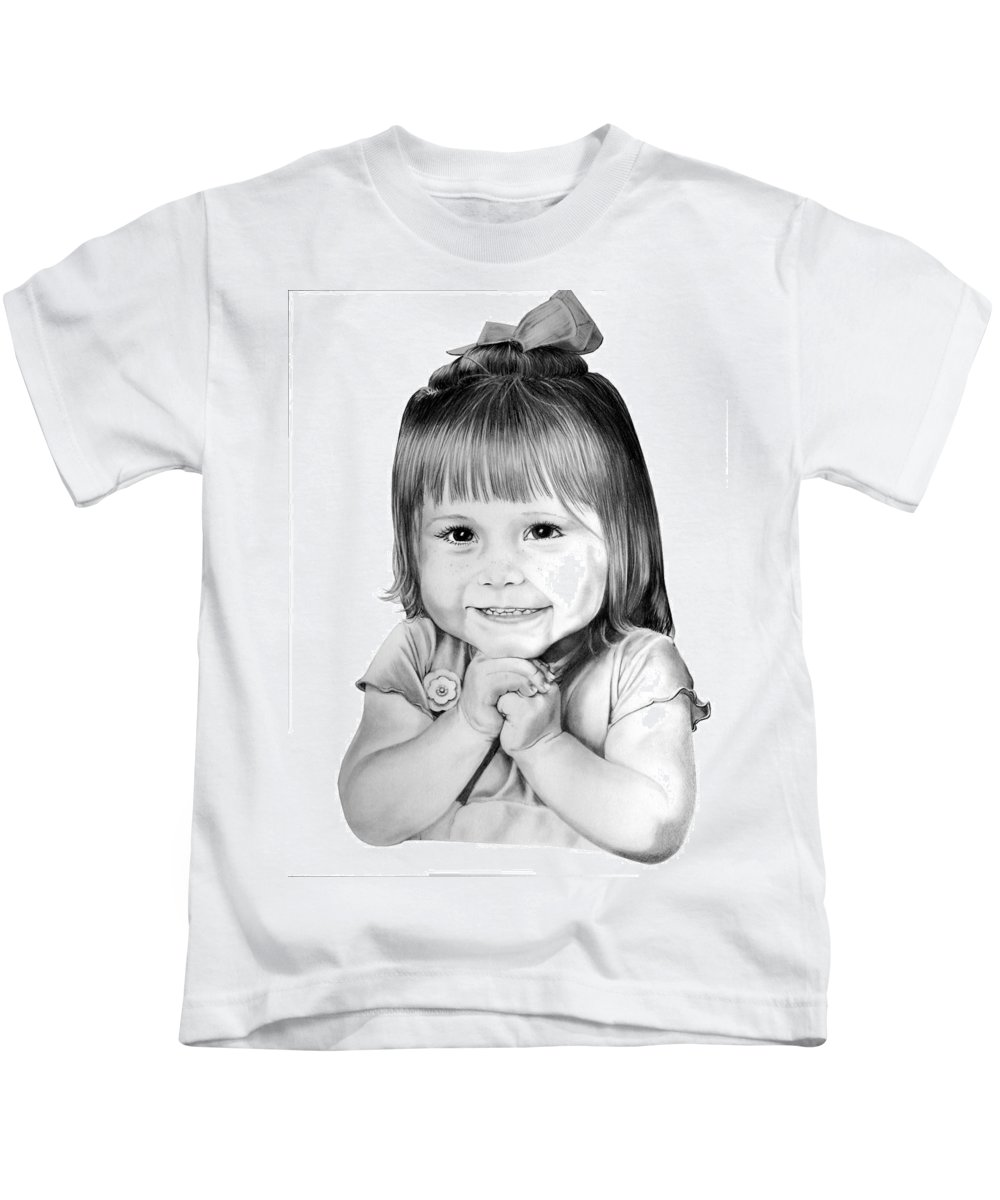 Child Kids T-Shirt featuring the drawing Little Bailey by Murphy Elliott