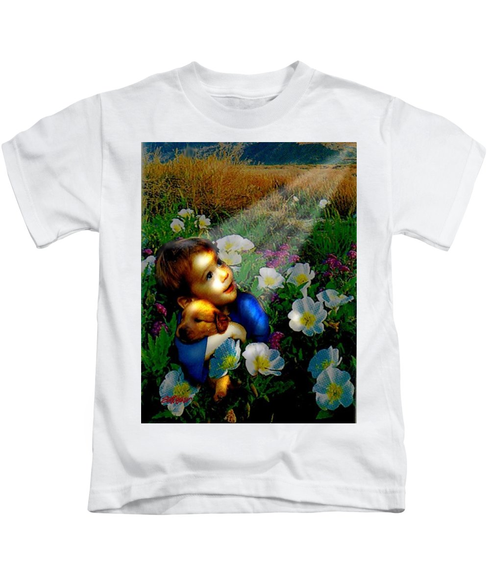 A Small Boy Loses His Puppy. Searches All Day. Finds Sick Puppy In The Rain. Now Both Are Lost Until Kids T-Shirt featuring the digital art Little Dog Lost by Seth Weaver