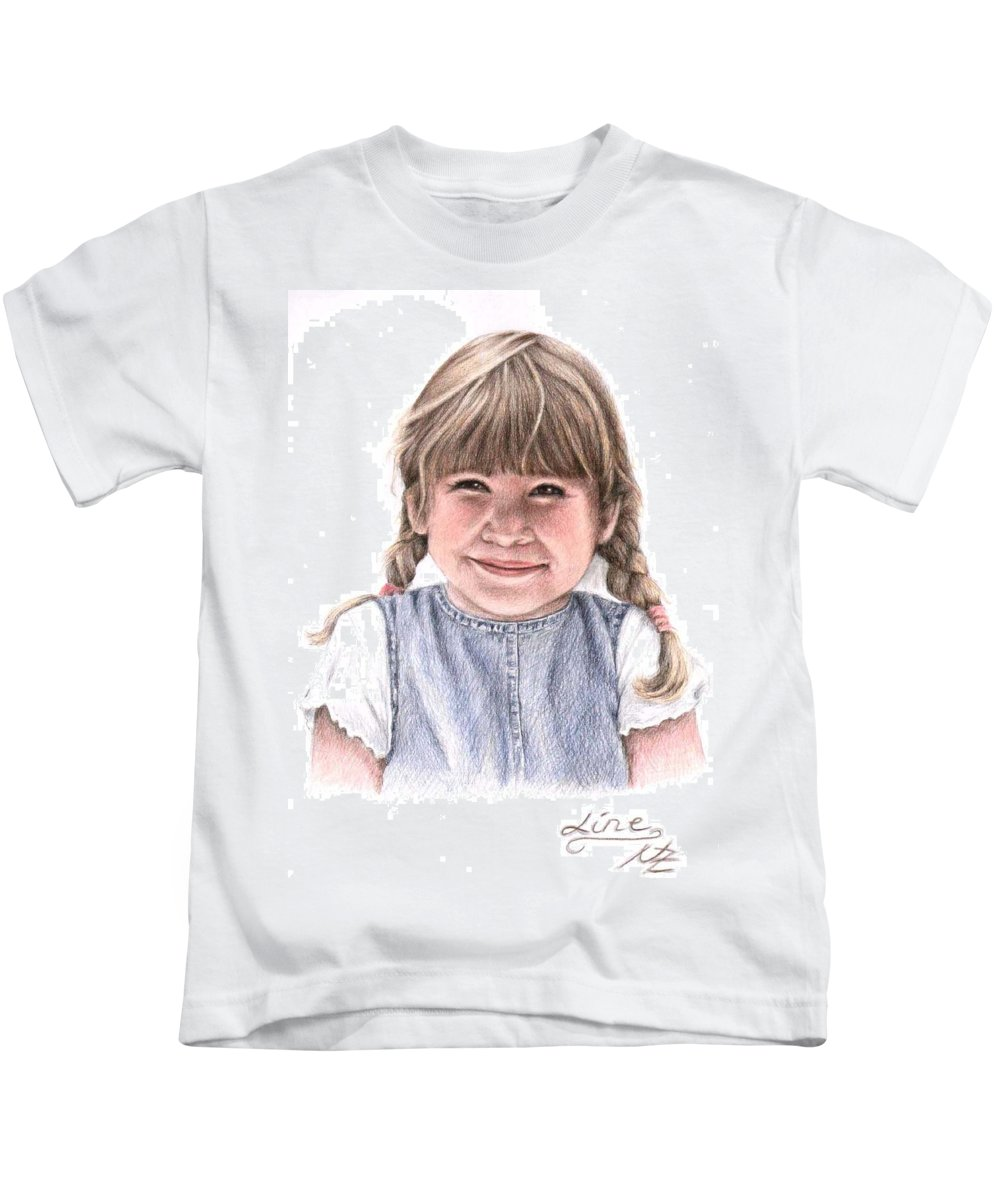 Girl Kids T-Shirt featuring the drawing Little Girl by Nicole Zeug