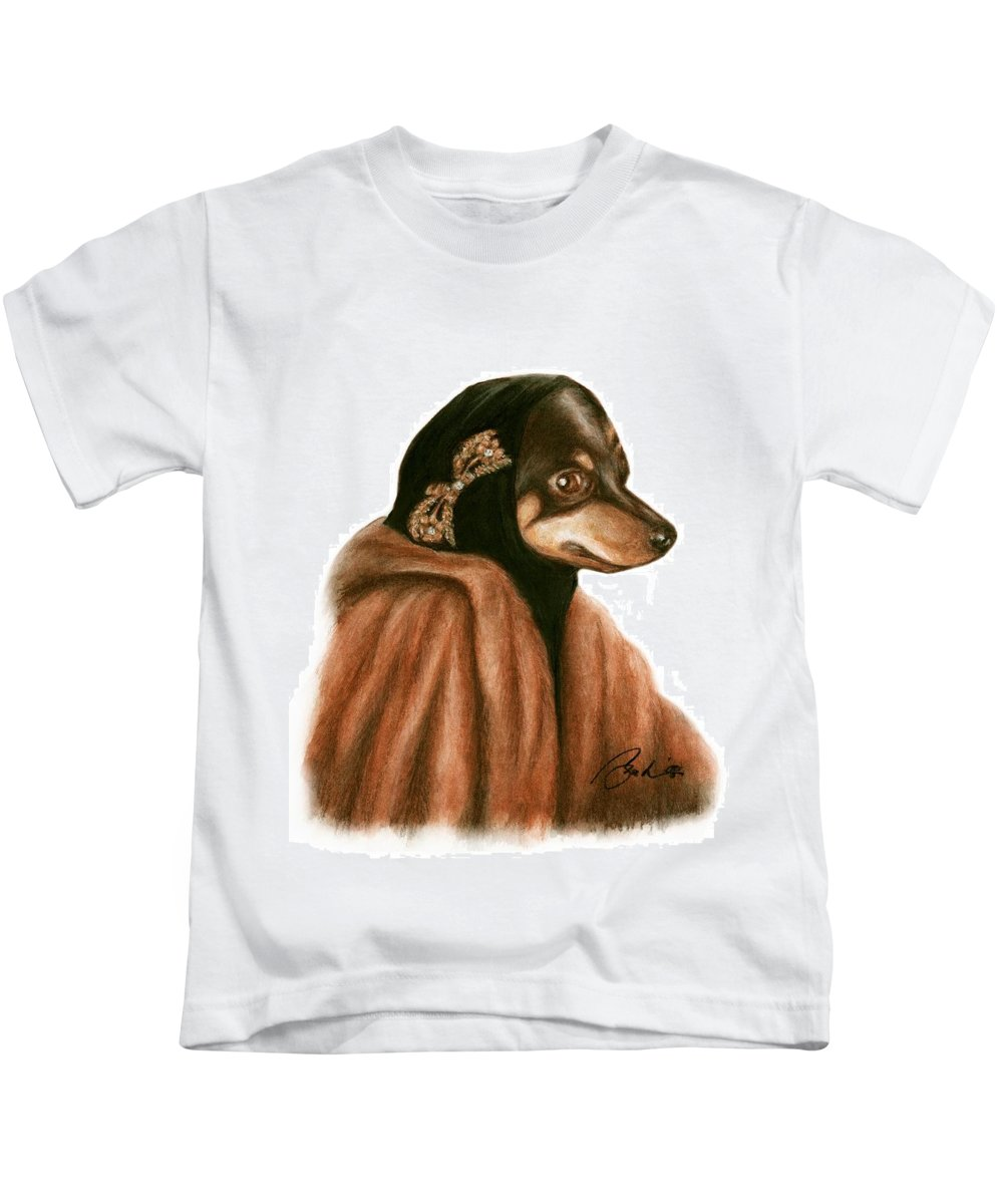 Grey Gardens Dogs Bruce Lennon Art Kids T-Shirt featuring the painting Little Mighty by Bruce Lennon