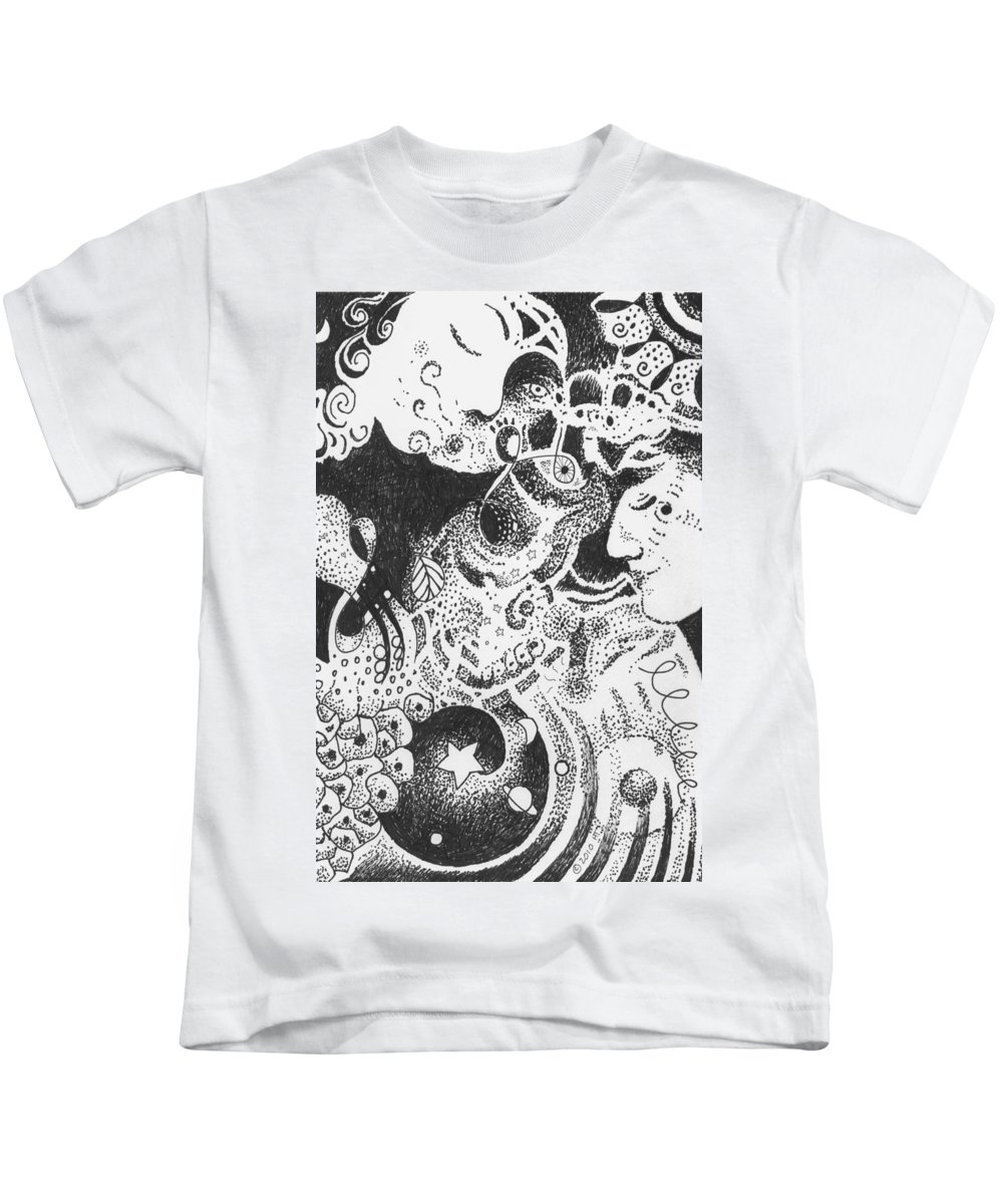 Kiss Of Life Kids T-Shirt featuring the drawing Living And Loving by Helena Tiainen