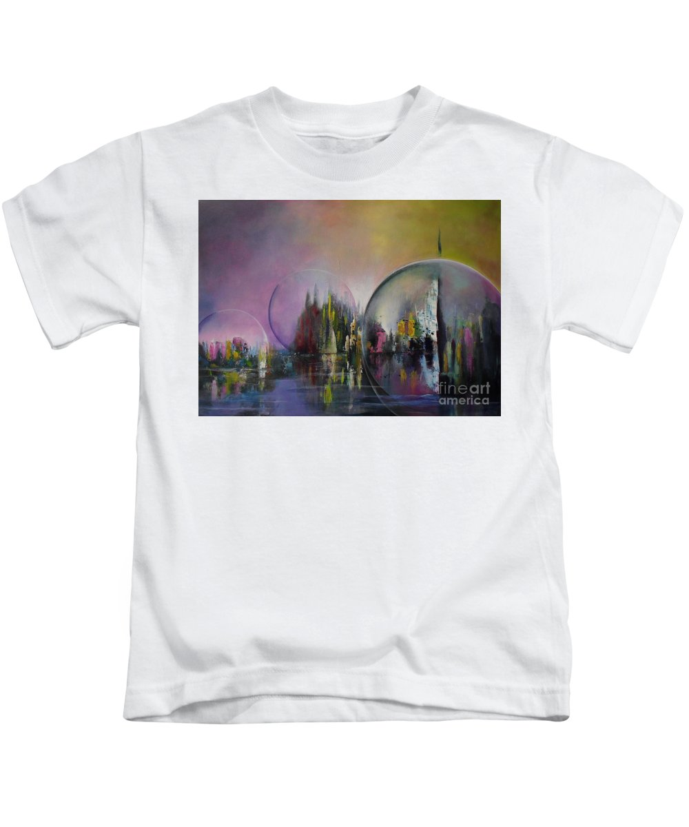 Living In A Bubble Kids T-Shirt featuring the painting Living In A Bubble by Lia Van Elffenbrinck