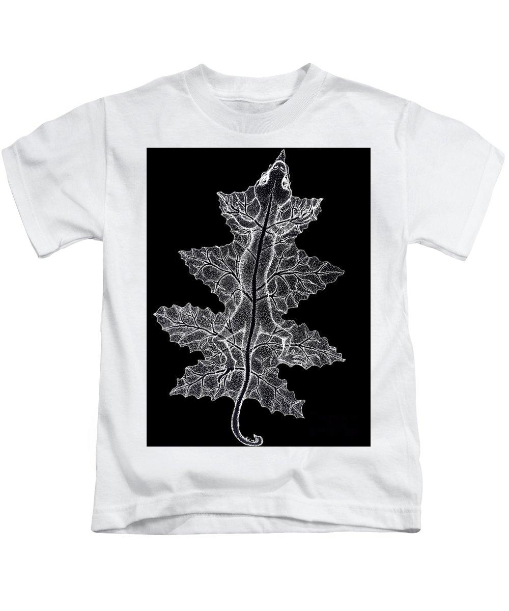 Lizard Art Kids T-Shirt featuring the drawing Lizard And Leaf by Nick Gustafson