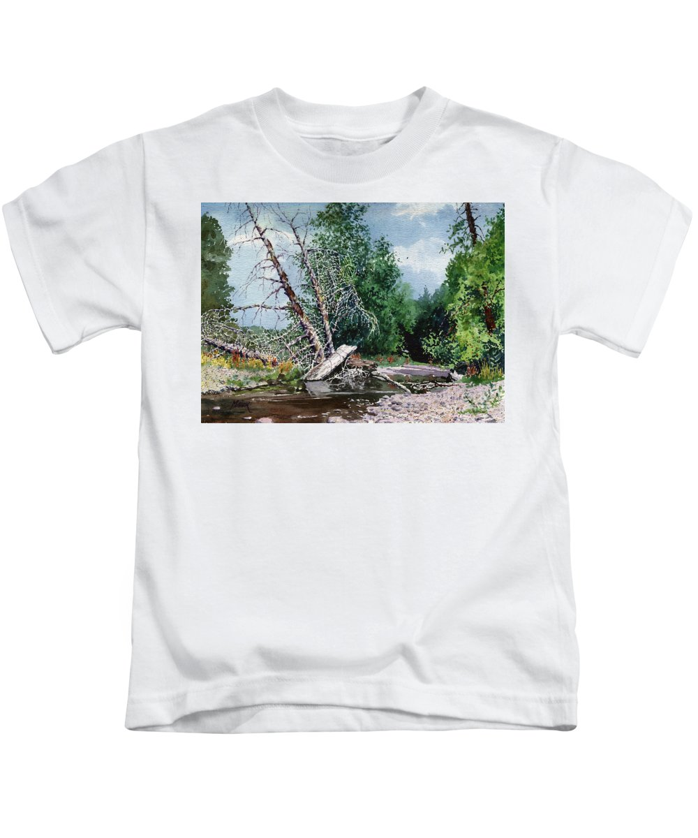 Washington State Kids T-Shirt featuring the painting Log Jam by Donald Maier