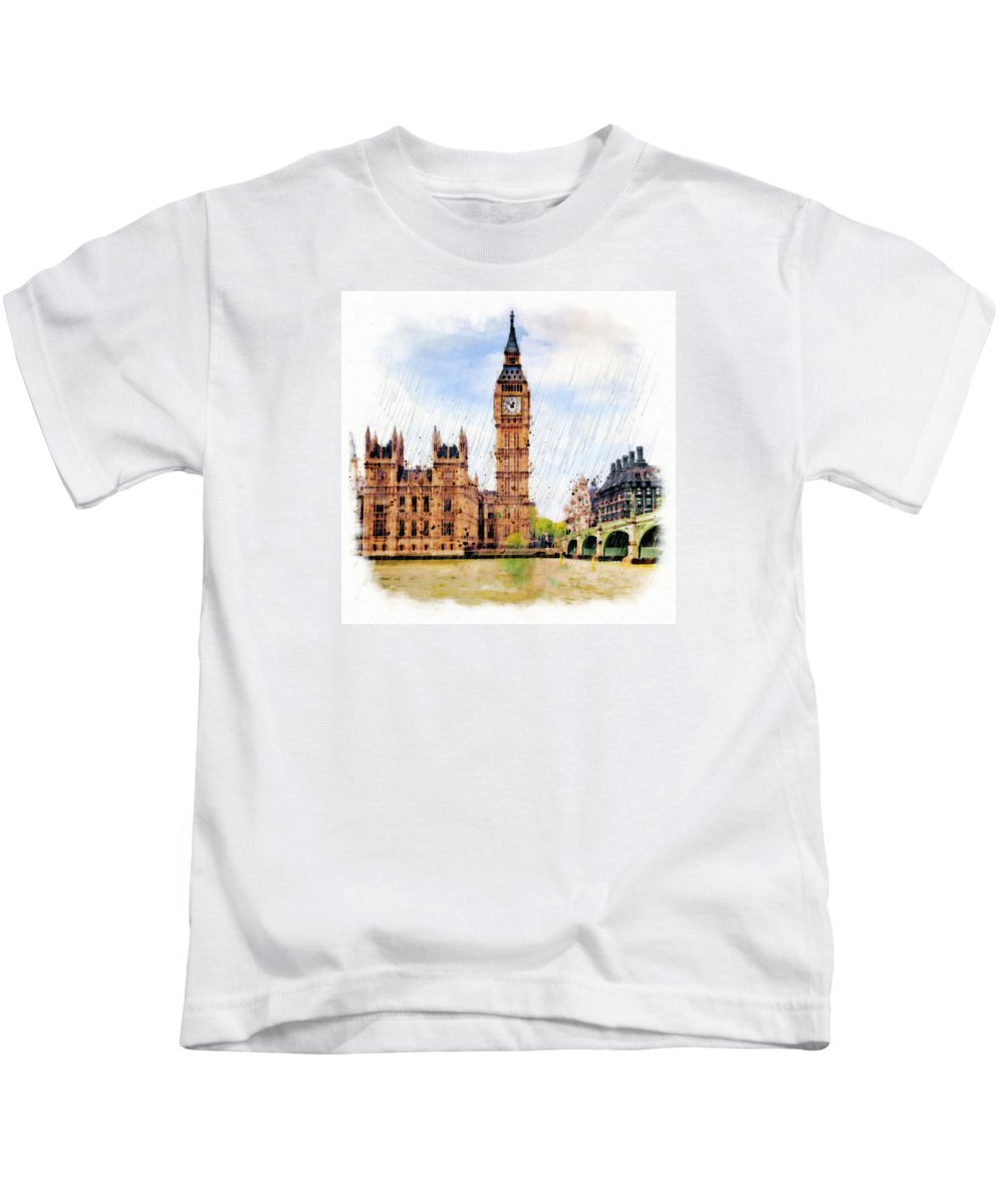 London Kids T-Shirt featuring the mixed media London Calling by Marian Voicu