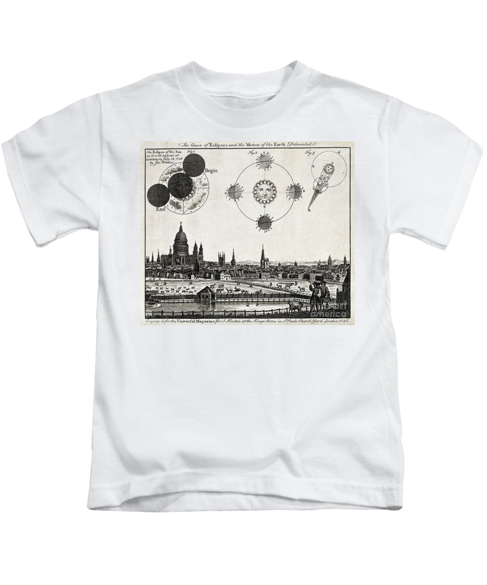Historic Kids T-Shirt featuring the photograph London With Eclipse Diagram, 1748 by Wellcome Images