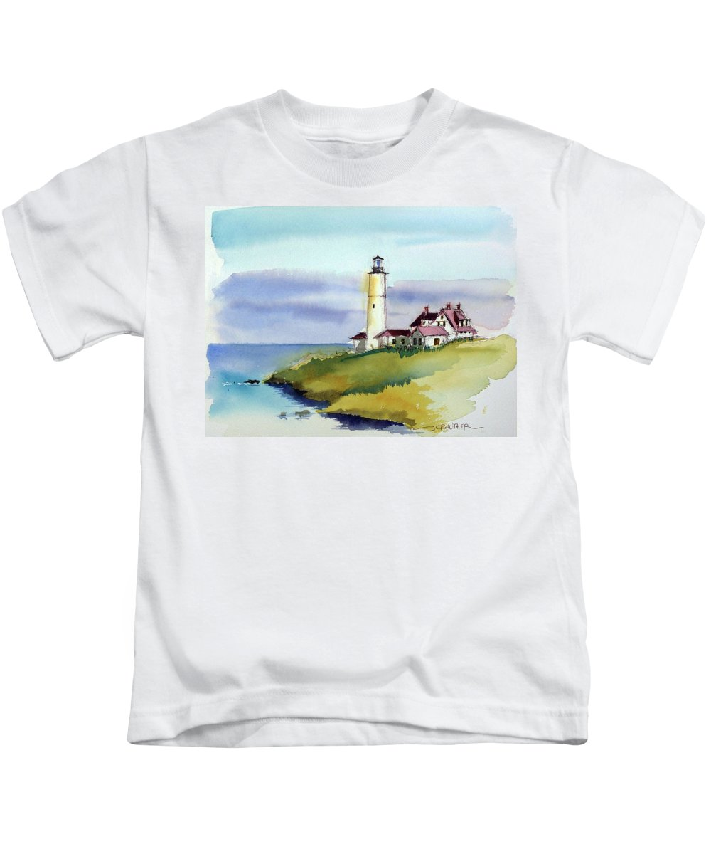 Marine Kids T-Shirt featuring the painting Lonely Sentinel by John Crowther