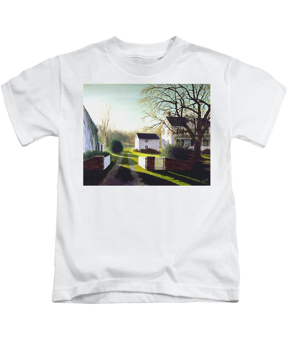 Kids T-Shirt featuring the painting Long Shadows by Tony Scarmato