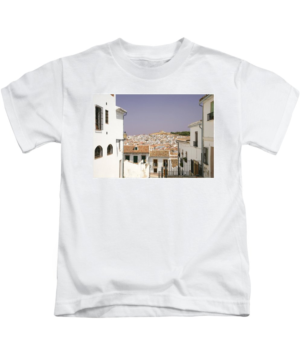 Antequera Kids T-Shirt featuring the photograph Looking Down Over Antequera From Near The Church Of Santa Maria La Mayor by Mal Bray