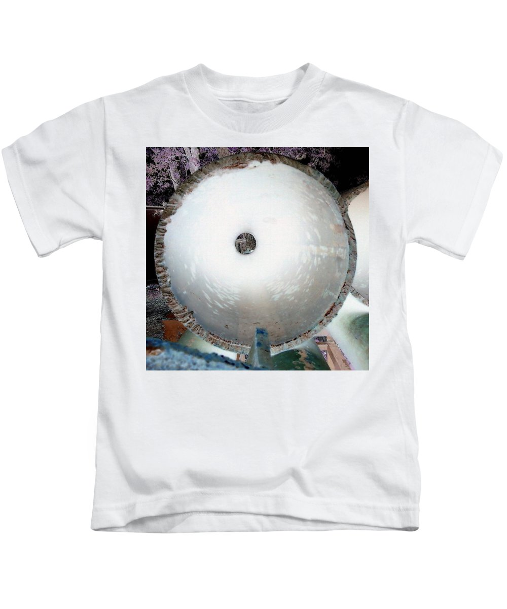 Pipe Negative Strange White Rust Kids T-Shirt featuring the photograph Looking Thru A Pipe...negative by Cindy New