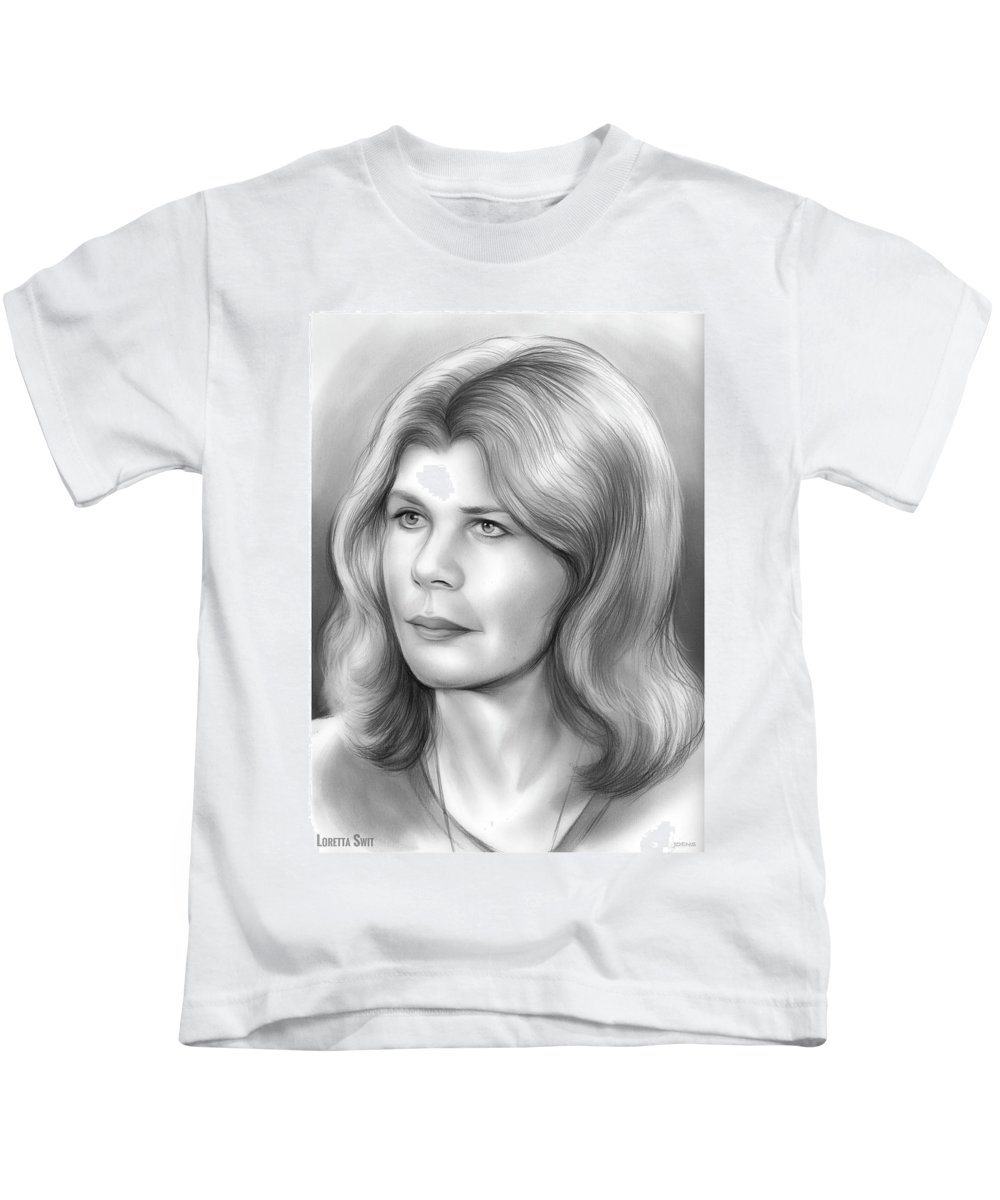 Loretta Swit Kids T-Shirt featuring the drawing Loretta Swit by Greg Joens