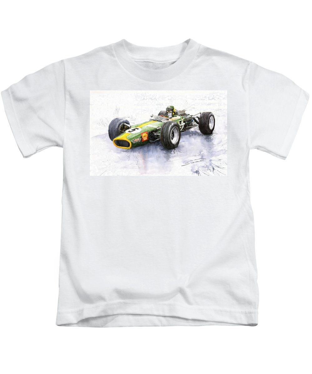 Watercolour Kids T-Shirt featuring the painting Lotus 49 Ford F1 Jim Clark by Yuriy Shevchuk