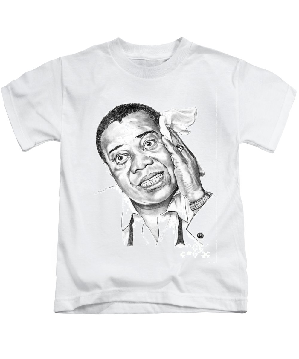 Music Kids T-Shirt featuring the drawing Louis Satchmo Armstrong by Murphy Elliott