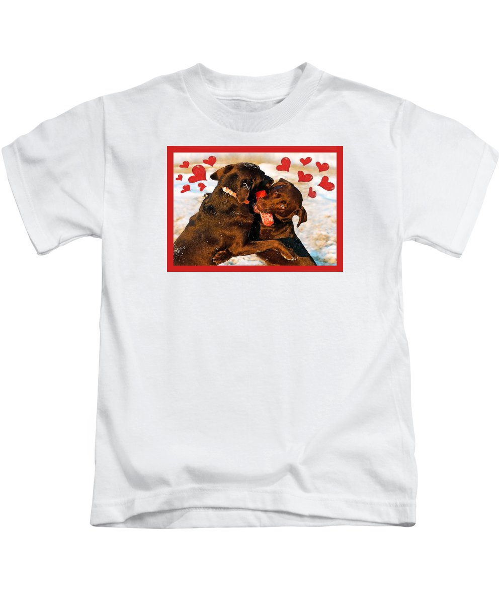 Chocolate Labs Kids T-Shirt featuring the photograph Love Is In The Air by Dale Hall