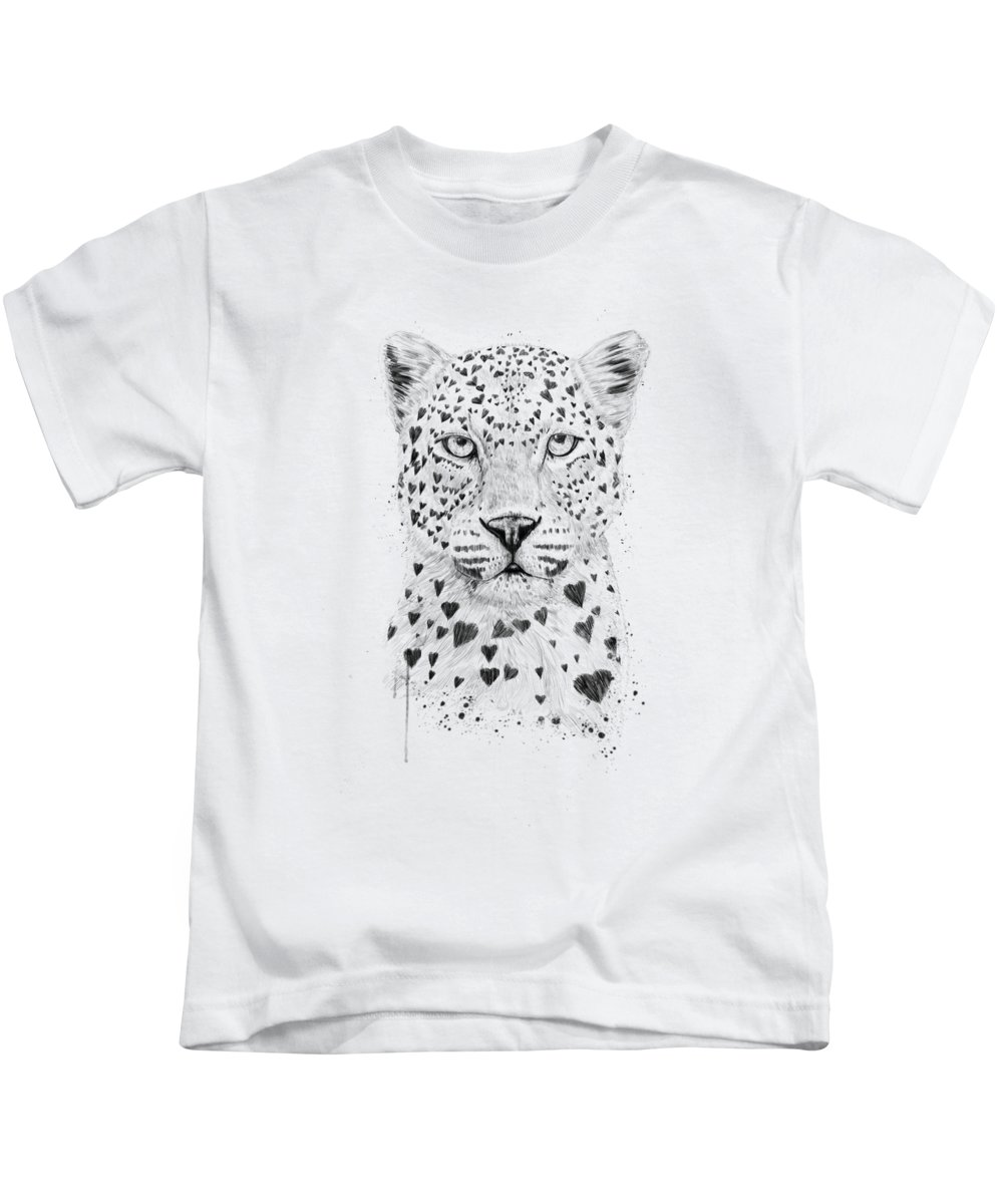 Leopard Kids T-Shirt featuring the drawing Lovely leopard by Balazs Solti
