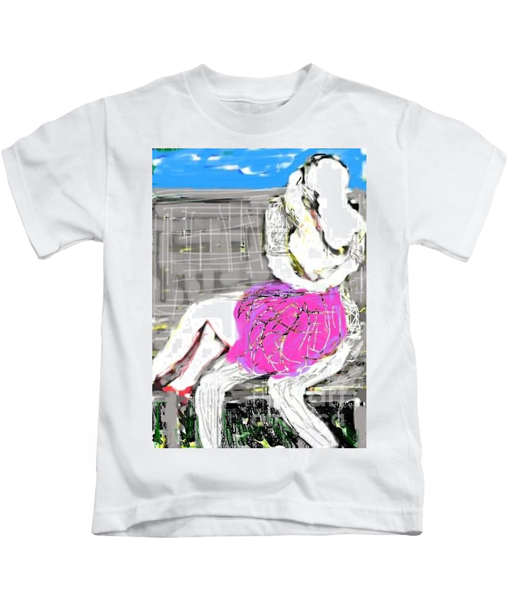 Love Kids T-Shirt featuring the painting Lovers by Subrata Bose