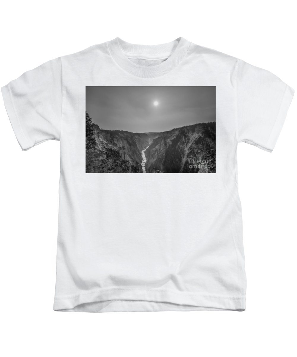 Yellowstone Kids T-Shirt featuring the photograph Lower Falls At Artist Point Bw by Michael Ver Sprill