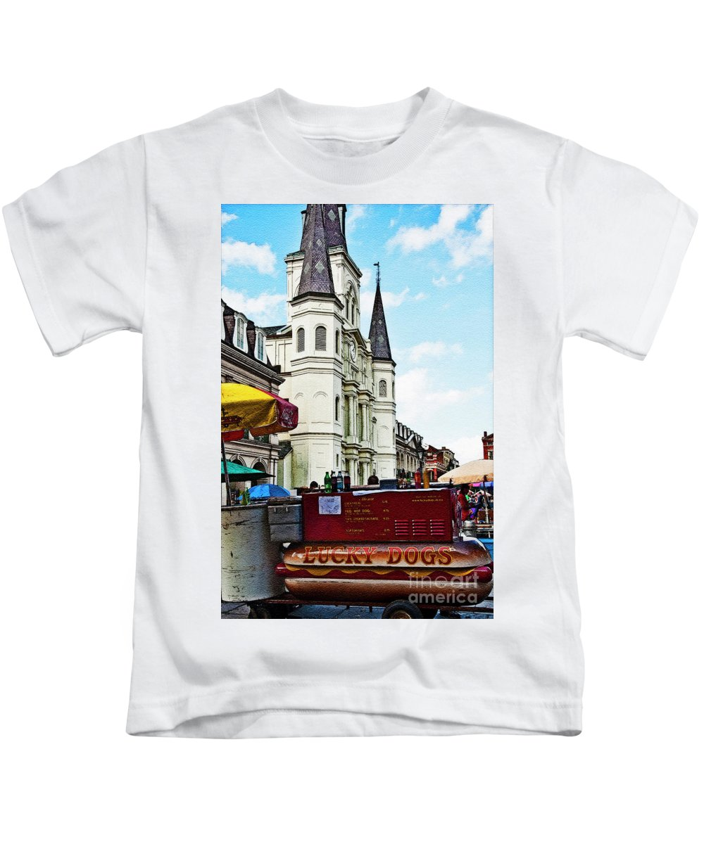 Photography Kids T-Shirt featuring the photograph Lucky Dogs And St. Louis Cathedral by Kathleen K Parker