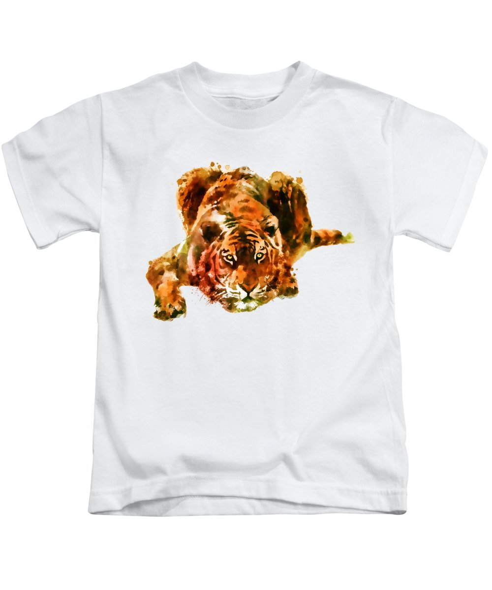 Lurking Kids T-Shirt featuring the painting Lurking Tiger by Marian Voicu