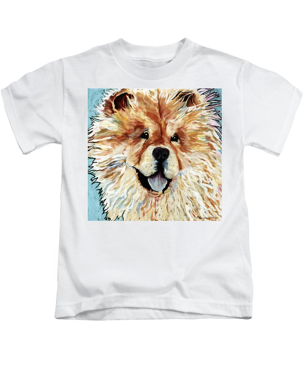 Chow Chow Kids T-Shirt featuring the pastel Madame Chu Cho by Pat Saunders-White