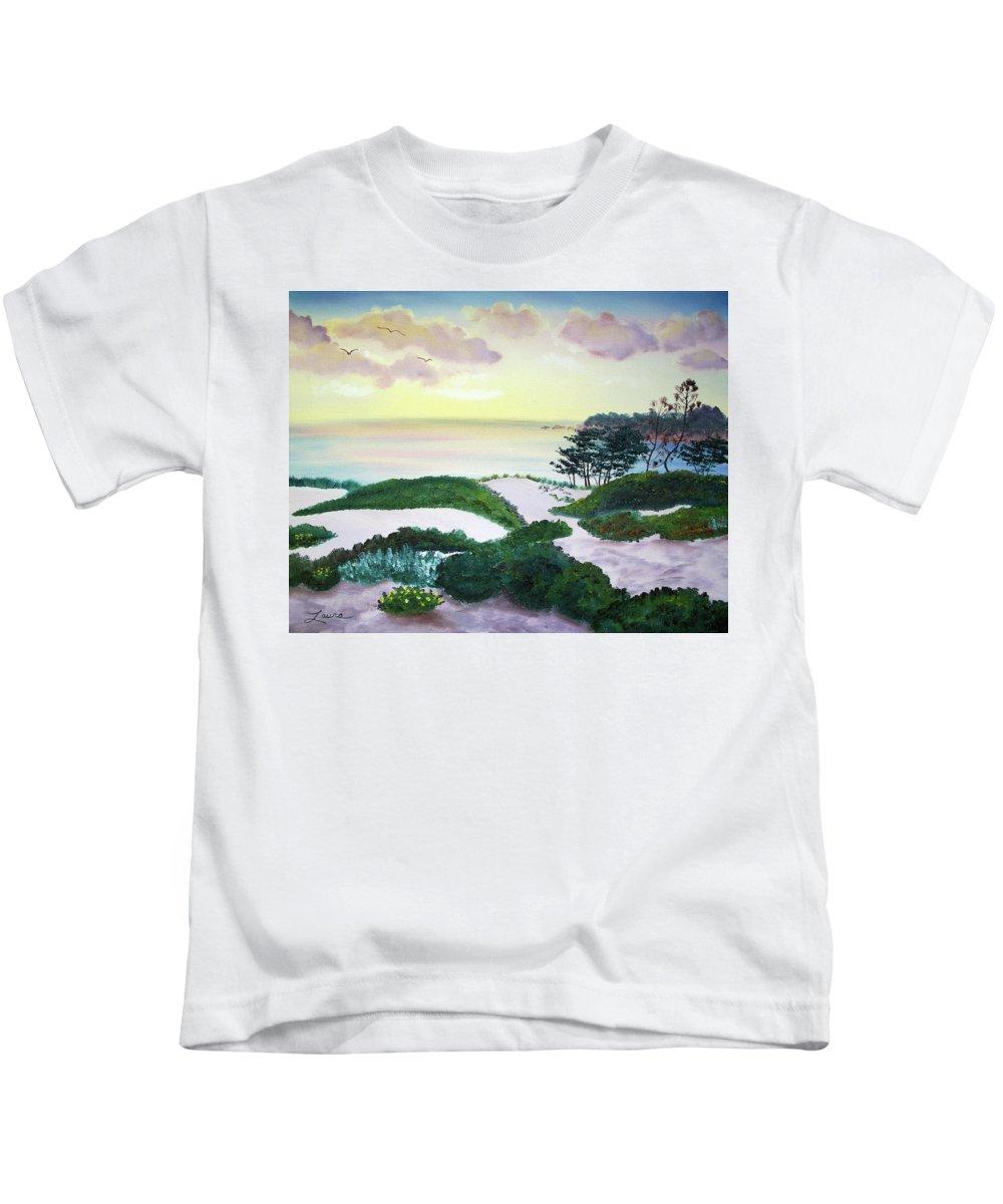 California Kids T-Shirt featuring the painting Magic Dawn At A Hidden Beach by Laura Iverson