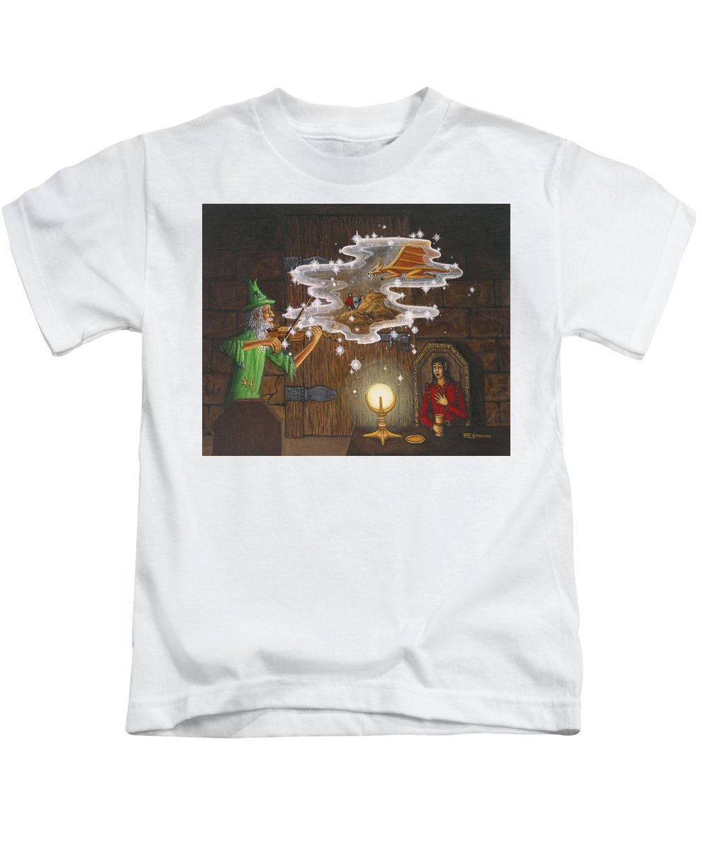Fantasy Kids T-Shirt featuring the painting Magic Violin by Roz Eve