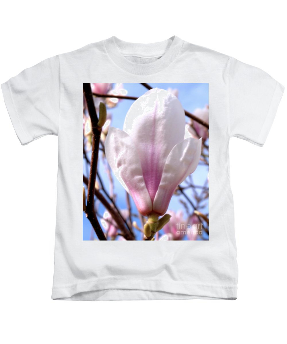 Flora Kids T-Shirt featuring the photograph Magnolia Flower Bloom by Baggieoldboy
