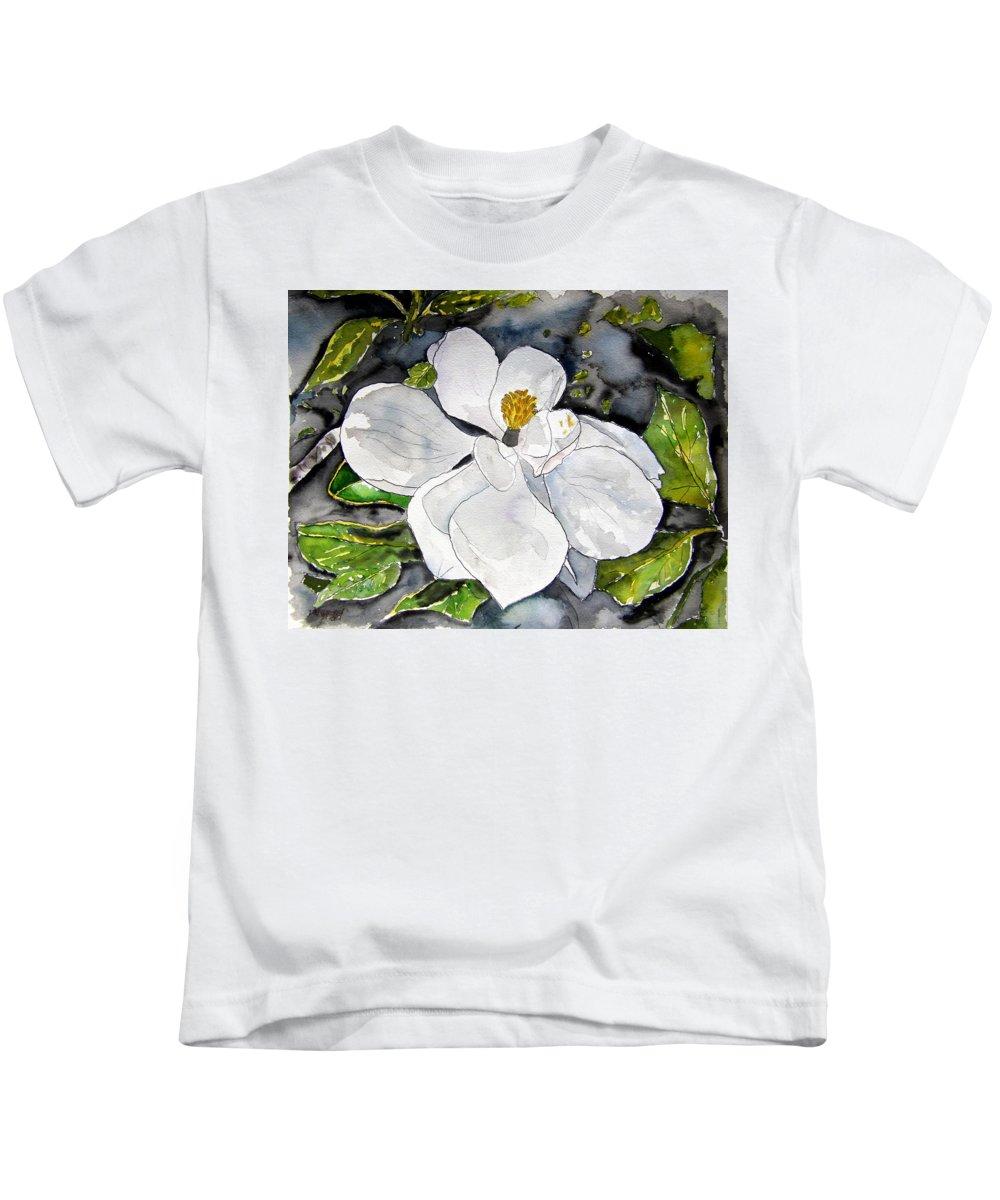 Magnolia Kids T-Shirt featuring the painting Magnolia Tree Flower by Derek Mccrea