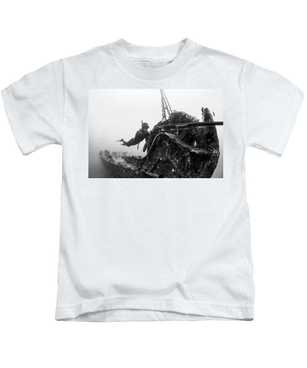 Spearfishing Kids T-Shirt featuring the photograph Mahi Wreck by John Coffey