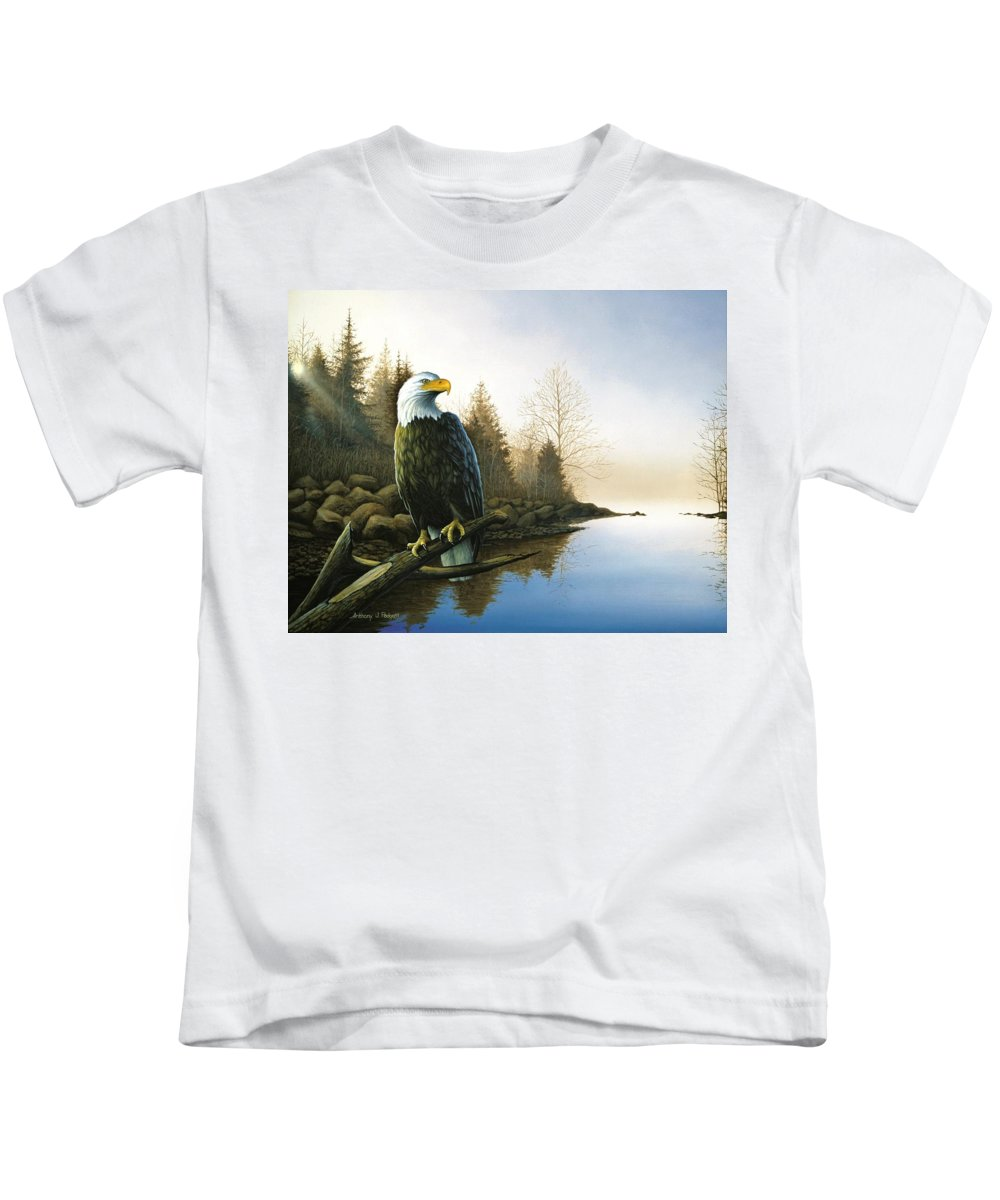Eagle Kids T-Shirt featuring the painting Majestic Light - Eagle by Anthony J Padgett