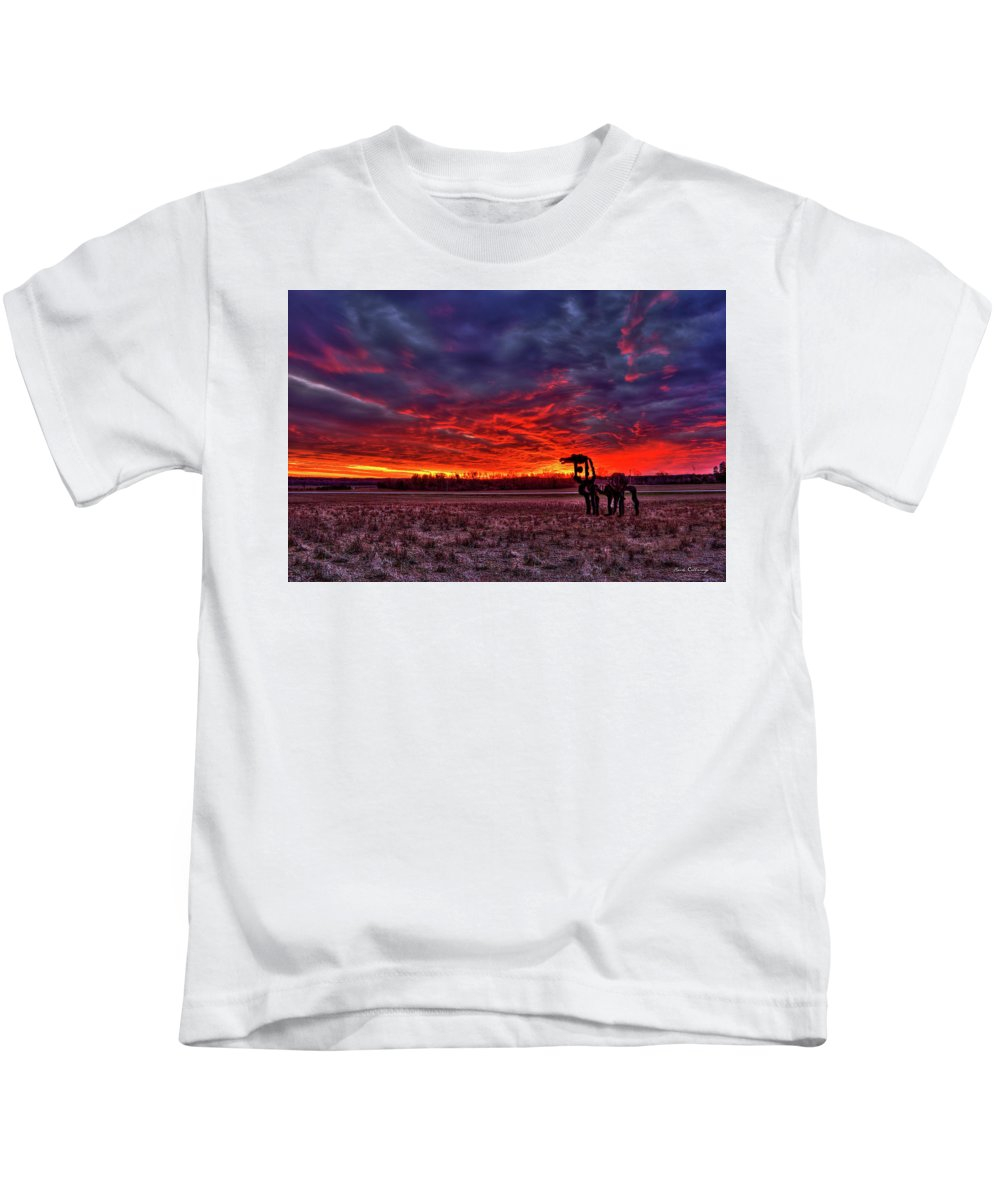 Reid Callaway The Iron Horse Red Sky Sunset Kids T-Shirt featuring the photograph Majestic Red Clouds Winter Sunset The Iron Horse Art by Reid Callaway