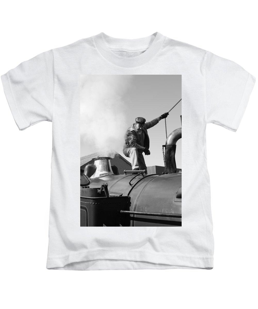 Steam Train Kids T-Shirt featuring the photograph Making Steam by Lauri Novak