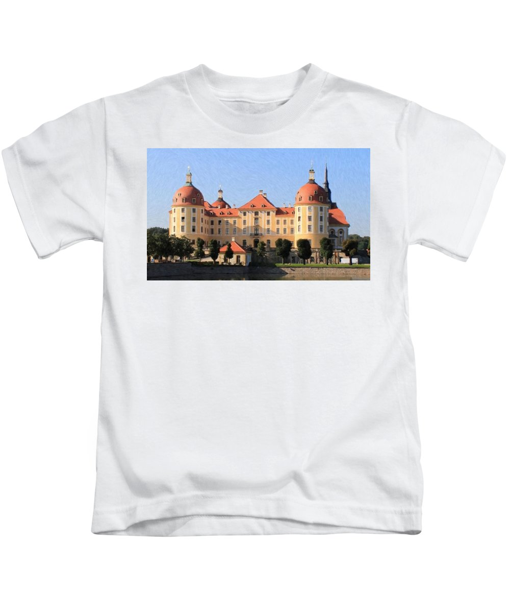 Castle Kids T-Shirt featuring the painting Mancion - Id 16217-202733-1393 by S Lurk