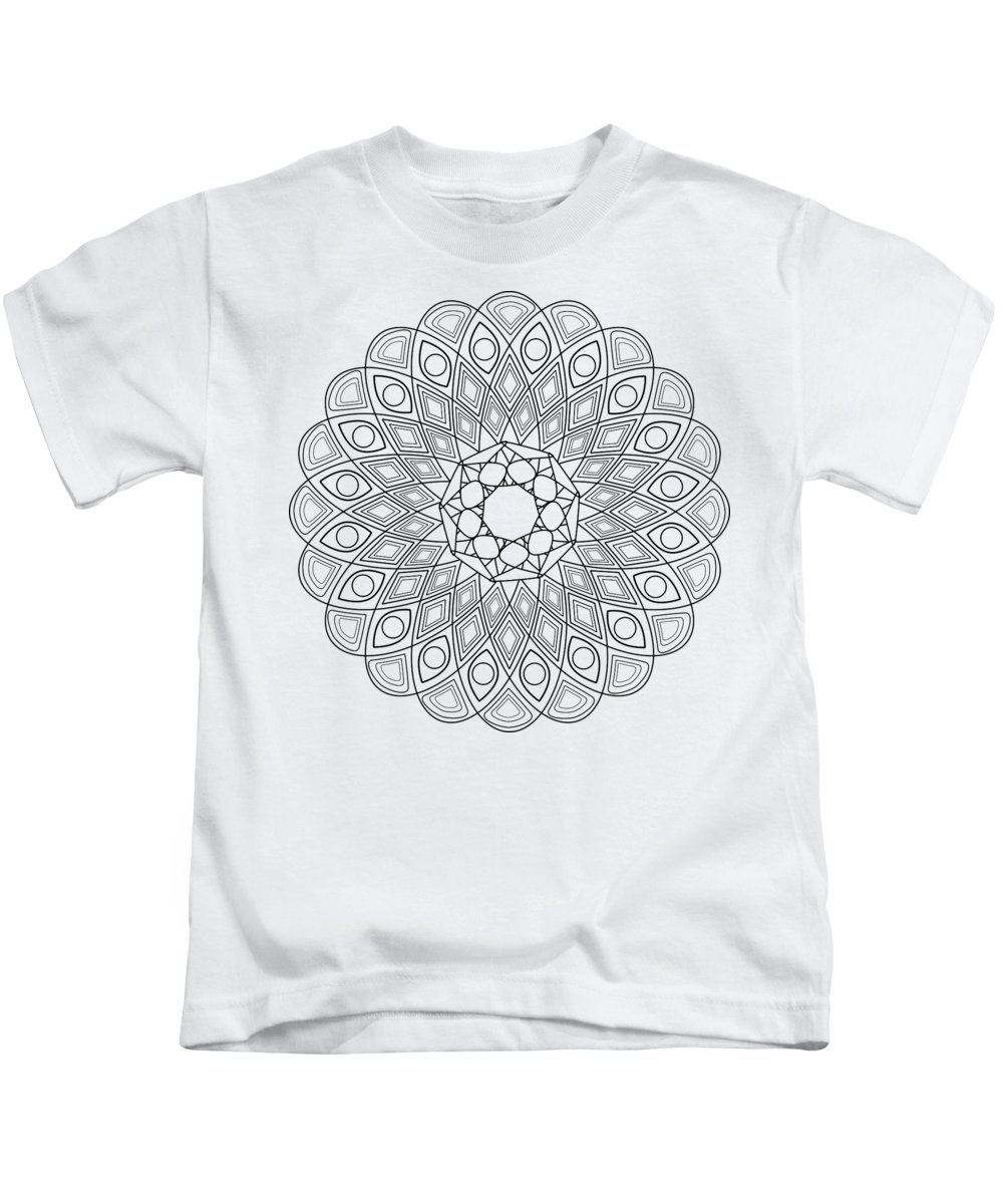Mandala Kids T-Shirt featuring the digital art Mandala No 2 by Ummuhan Uslu