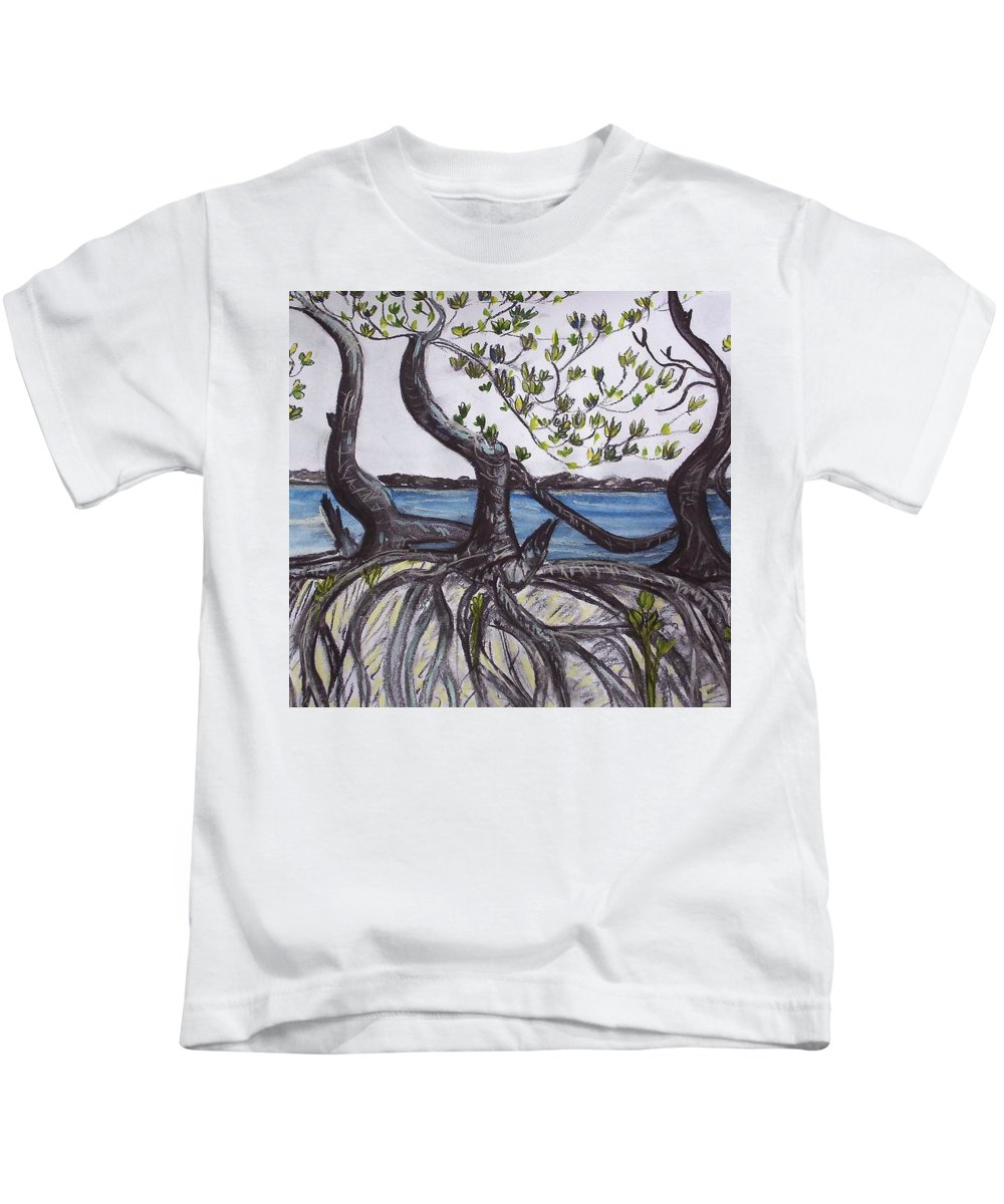 Sea Kids T-Shirt featuring the painting Mangroves by Joan Stratton