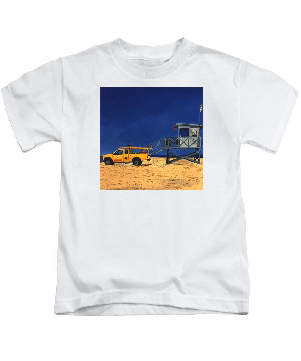Modern Kids T-Shirt featuring the painting Manhattan Beach Lifeguard Station Side by Lance Headlee