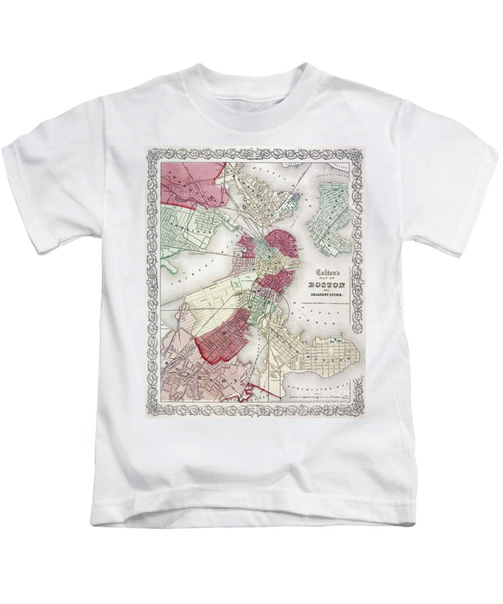 1865 Kids T-Shirt featuring the photograph Map: Boston, 1865 by Granger