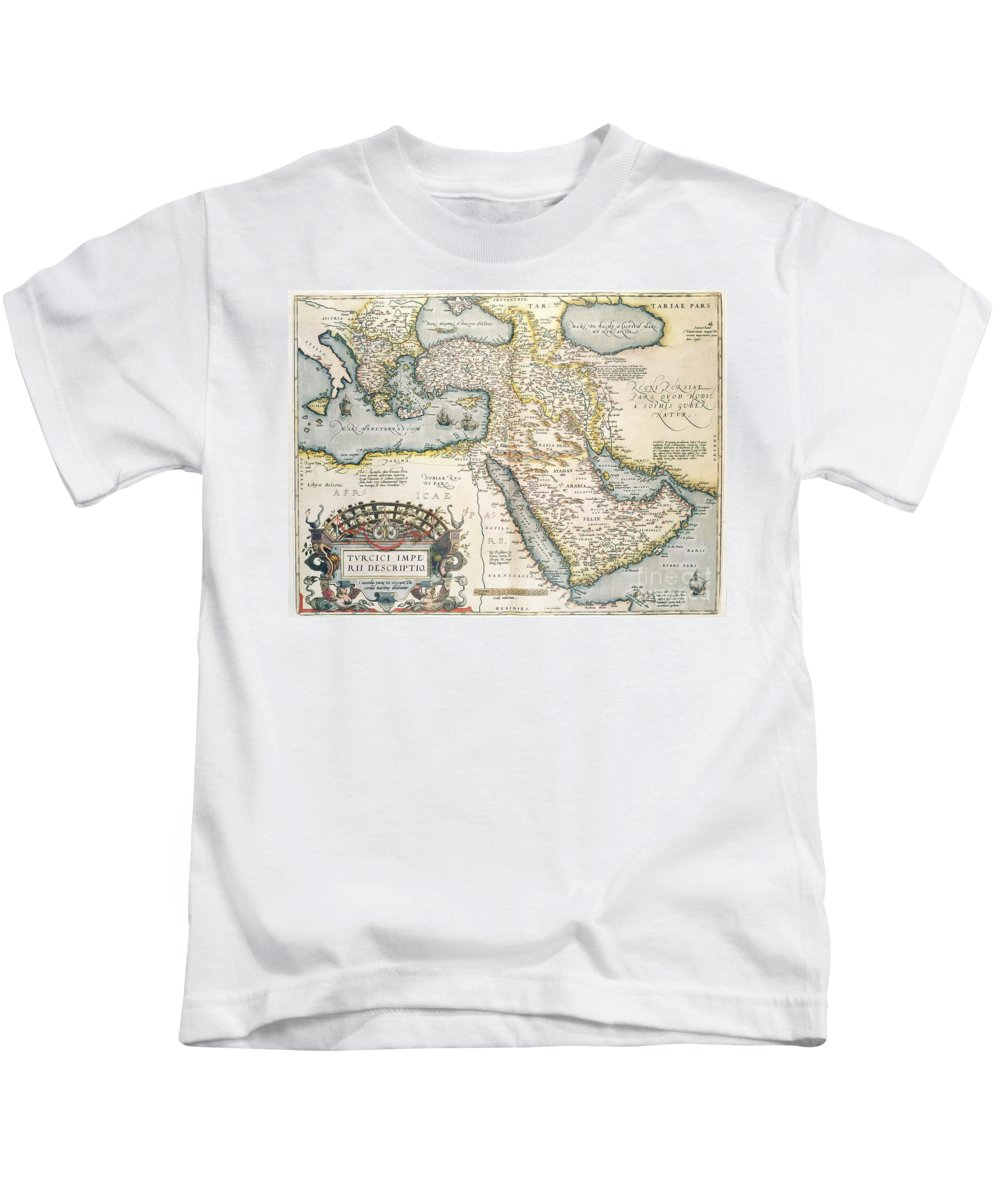 Map Kids T-Shirt featuring the drawing Map Of The Middle East From The Sixteenth Century by Abraham Ortelius