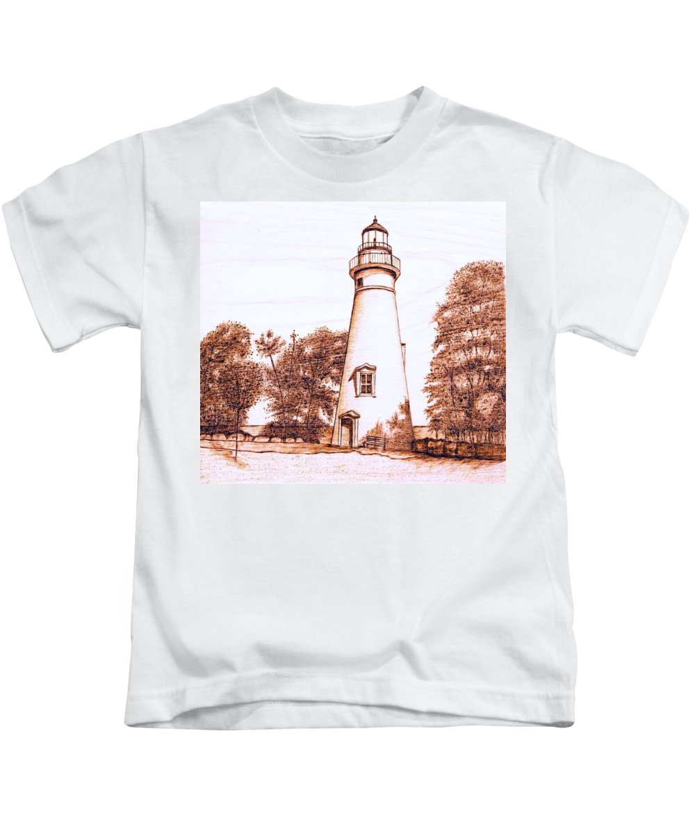Lighthouse Kids T-Shirt featuring the pyrography Marblehead Lighthouse by Danette Smith